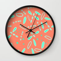 fireflies Wall Clocks featuring Fireflies   by TyeJiles