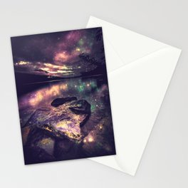 Magical Mountain Lake : Eggplant Teal Stationery Cards