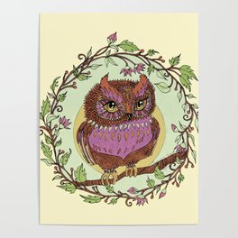 Small Pink Owlet With Wildflower Wreath Poster