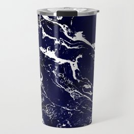 Modern Navy blue watercolor marble pattern Travel Mug
