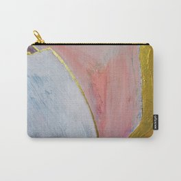 Bliss: A pretty, minimal, abstract mixed-media piece in pink white and gold by Alyssa Hamilton Art Carry-All Pouch
