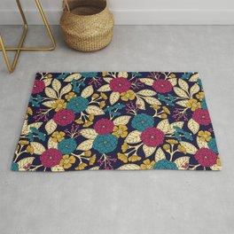 Turquoise, Magenta, Mustard Yellow, Navy Blue & Cream Floral Pattern Rug