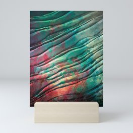 Flow in red and teal Mini Art Print