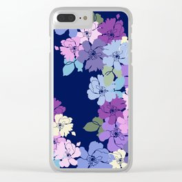 Blue Poppy Toss Clear iPhone Case
