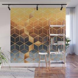 Golden Gradient Cubes Wall Mural