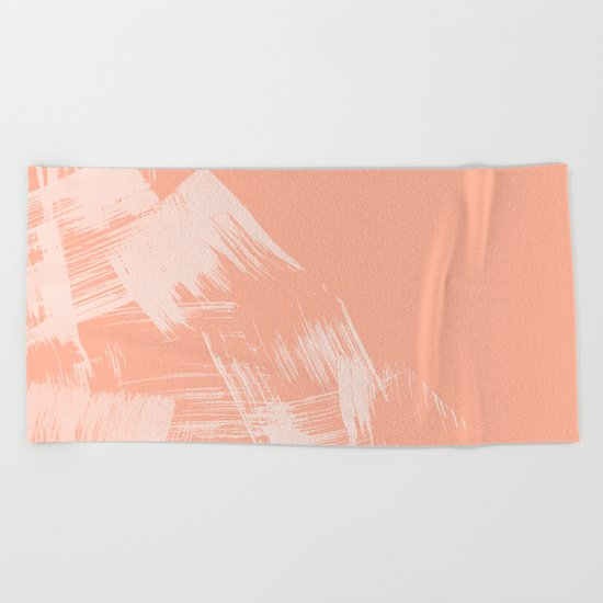 Sweet Life Paint Swipes Peach Coral Pink Beach Towel