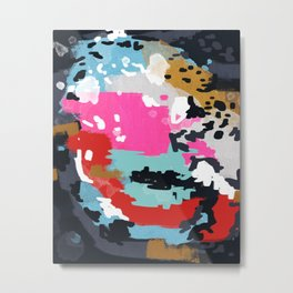 Charlotte - Abstract Painting in pink, gold, mint, and navy Metal Print