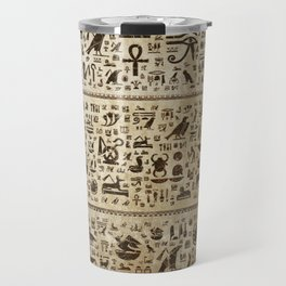 Ancient Egyptian hieroglyphs - Vintage and gold Travel Mug