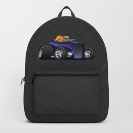 Highboy hot rod deep purple roadster with driver and cute passenger Backpack