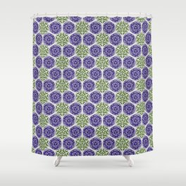 SCION purple blue spring bloom with greenery pattern Shower Curtain
