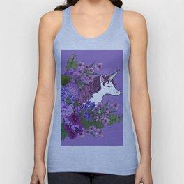 Unicorn in a Purple Garden Unisex Tank Top