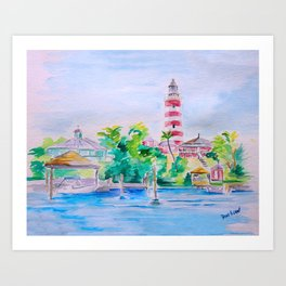 Elbow Reef Lighthouse Hope Town, Abaco, Bahamas Watercolor painting Art Print