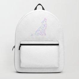 Neon geometric wolf Backpack