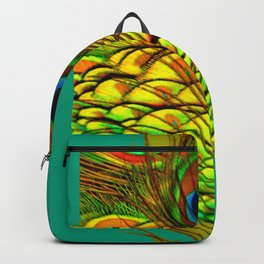 TEAL PEACOCK FEATHERS GOLDEN  DESIGN Backpack