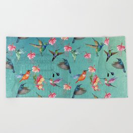 Vintage Watercolor hummingbirds and fuchsia flowers Beach Towel