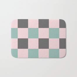 Contemporary Mint Pink Gray Gingham Pattern-Mix and Match Bath Mat