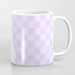 Large Chalky Pale Lilac Pastel Checkerboard Coffee Mug