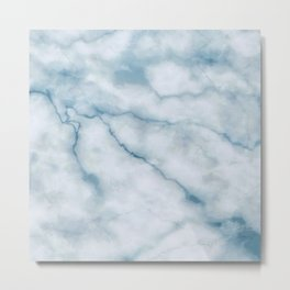 Light blue marble texture Metal Print