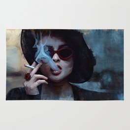 Marla Singer Smokes A Cigarette Behind Sunglasses - Fight Rug