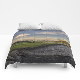 Summer Marsh Sunset Comforters