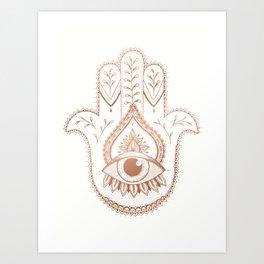 Hamsa Hand - Rosé Gold Art Print