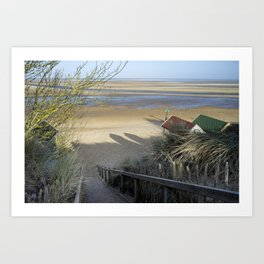 Steps and Beach huts, Wells-next-the-sea, North Norfolk Coast, UK in Winter Art Print