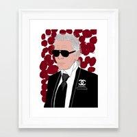 karl lagerfeld Framed Art Prints featuring Karl Lagerfeld by Stephanie Jett