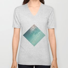 Fresh summer abstract background. Connecting dots, lens flare Unisex V-Neck