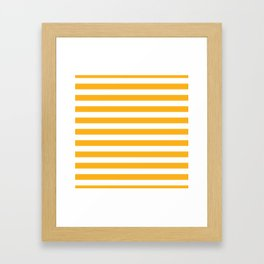 Beer Yellow and White Horizontal Beach Hut Stripes Framed Art Print