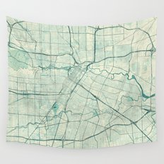 Houston Map Blue Vintage Wall Tapestry