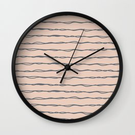 Minimalist Stripes Navy Gray on Blush Pink Wall Clock