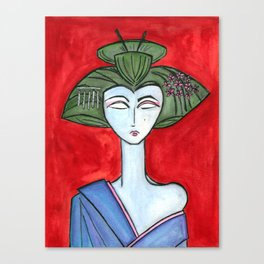 American Maiko with Red Background Canvas Print
