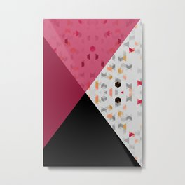 Little Triangles with Black and Pink Metal Print