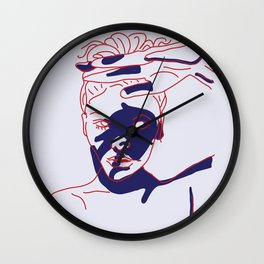 shadow of hand (red and blue) Wall Clock