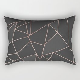 Chic Rose Gold Geometric Outline on Black Charcoal Rectangular Pillow