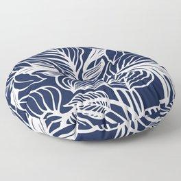 Navy Blue Floral Minimal Floor Pillow