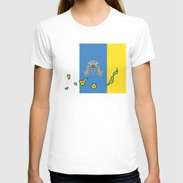 Canary Islands Flag with Map of the Canary Islands Islas Canarias T-shirt