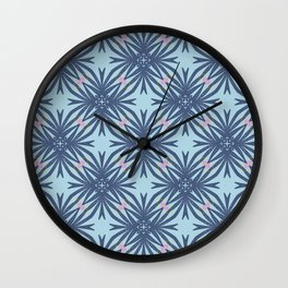 Langston dark blue geo floral with a hint of pink Wall Clock