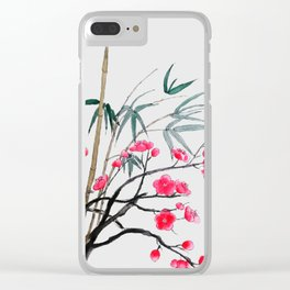 bamboo and red plum flowers Clear iPhone Case
