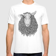 Sheep MEDIUM White Mens Fitted Tee
