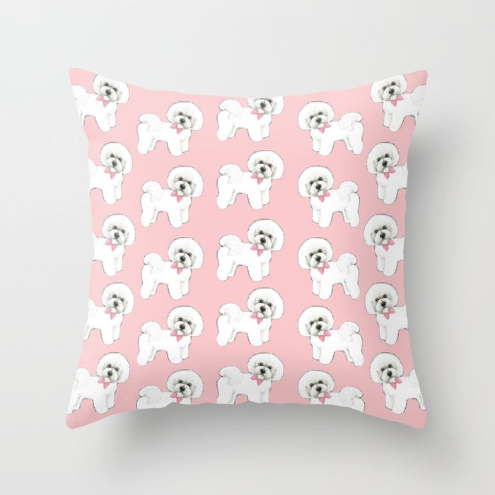 Bichon Frise pink bows christmas holiday themed pattern print pet friendly dog breed gifts Throw Pillow