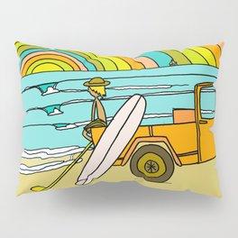 Retro Surf Days Single Fin Pick Up Truck Pillow Sham