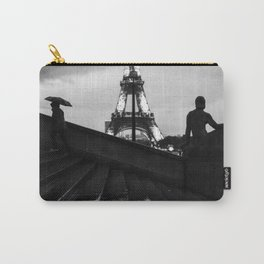 Eiffel Tower and rainy Paris - Black and white photography Carry-All Pouch