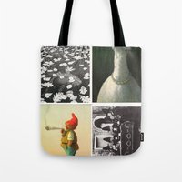 postcard Tote Bags featuring Postcard Collage by wetravelasequals