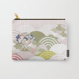 scales simple Nature background with japanese sakura flower, rosy pink Cherry, wave circle pattern Carry-All Pouch