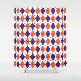 Argyle Orange And Purple Pattern Clemson Football College University Alumni  Varsity Team Fan Shower Curtain