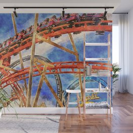 Fun on the roller coaster, close up Wall Mural