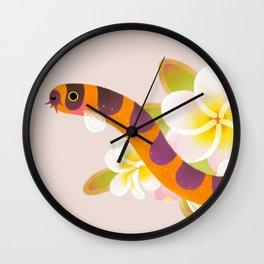 Kuhli loach and plumeria Wall Clock