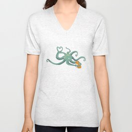 Octopus Loves Kitty Unisex V-Neck