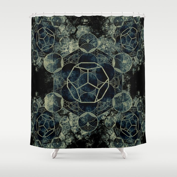 Sacred Geometry for your daily life -  Platonic Solids - ETHER Shower Curtain